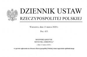 Na zdjęciu: po lewej stronie orzeł z godła Polskiego, obok napis Dziennik Ustaw Rzeczypospolitej Polskiej