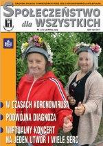 okładka czasopisma Społeczeństwo dla Wszystkich 2 kobiety w przyłbicach i wiankach z kwiatów
